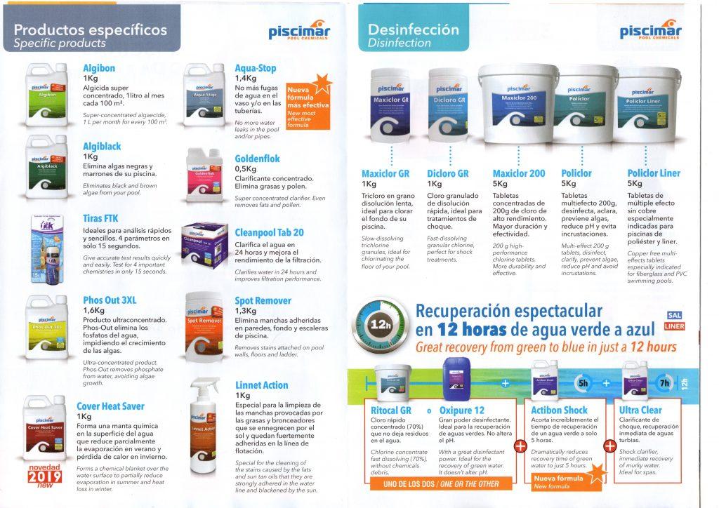 Productos químicos piscinas